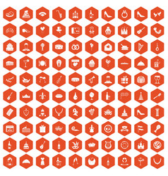 100 banquet icons hexagon orange vector