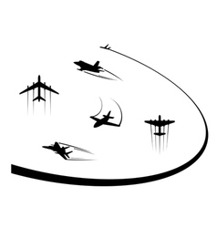Airplanes and jets symbols for any flight design vector