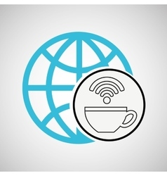 Connection concetp globe coffee internet wifi vector