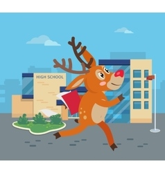 Deer running to school with books reindeer vector