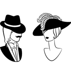 Vintage man and woman vector