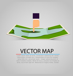Paper map sign with pointing hand vector