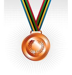 Bronze medal ribbons background vector image