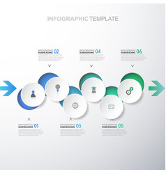 Infographic template with six circles and icons - vector