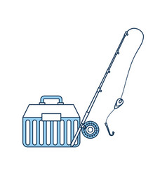 Fishing kit box with rod icon vector