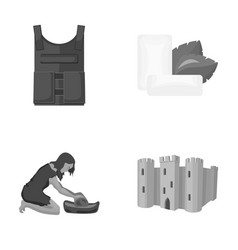Bulletproof vest chewing gum and other monochrome vector