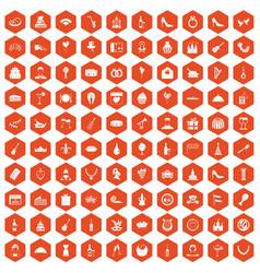 100 banquet icons hexagon orange vector