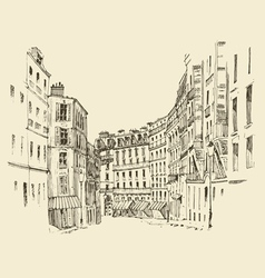 Streets in paris france vintage engraved vector