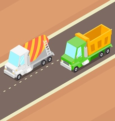 Cartoon isometric trucks vector