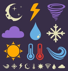 weather icons dark vector image