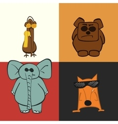 Animals elephant bird bear fox vector