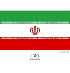 National flag of iran with correct proportions vector
