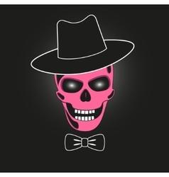 Pink skull in hat vector image
