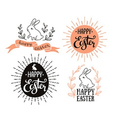 Easter set with lettering sunburst and rabbit vector