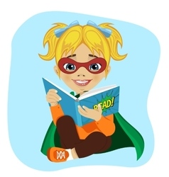 Little girl in superhero costume reading book vector