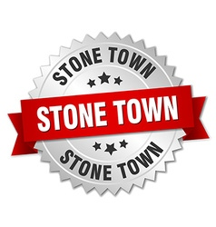 Stone town round silver badge with red ribbon vector