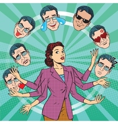 Retro woman juggles the emotions of men vector image