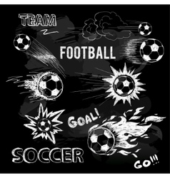 Chalk sketch of football ball and elements vector