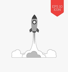 Rocket launch icon startup concept flat design vector
