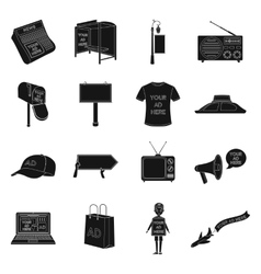 Advertising set icons in black style big vector