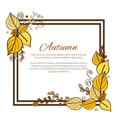 Autumn frame and leaves on vector