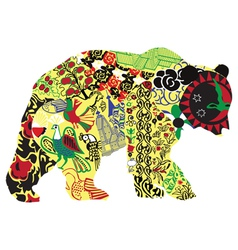Bear in Russian ornament vector image vector image