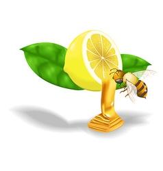 Bee swarm lemon honey vector