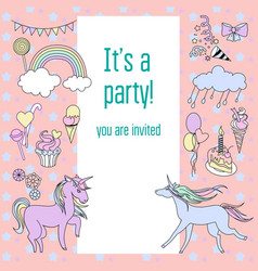 Bright birthday party card with unicorns sweets vector
