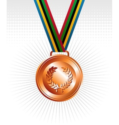 Bronze medal ribbons background vector image