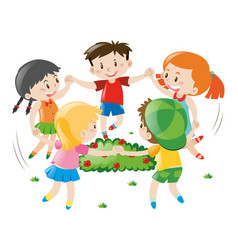 Children holding hands in circle vector