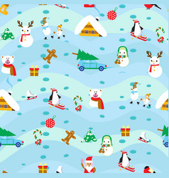 christmas elements seamless pattern background vector image vector image