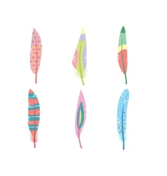 colored feathers set Bird feathers painted vector image