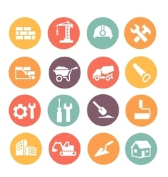 Construction colored icons set vector