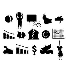 Crisis symbols black silhouette problem economy vector