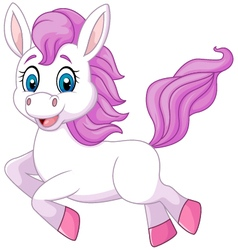 Cute beautiful pony horse running isolated vector