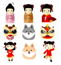 Cute character asian culture graphic vector