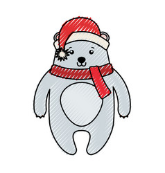 Cute scribble christmas bear cartoon vector
