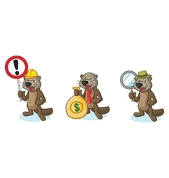 Dark brown sea otter mascot with money vector
