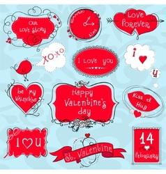 Doodle Valentine frames vector image vector image