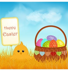 Easter chick and sign with basket and eggs vector