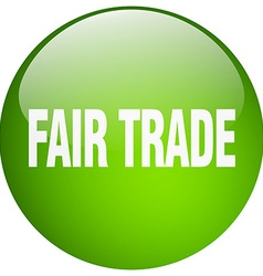 Fair trade green round gel isolated push button vector