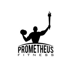 Fitness prometheus with man holding a torch vector