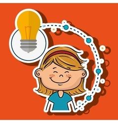 girl cartoon idea icon vector image