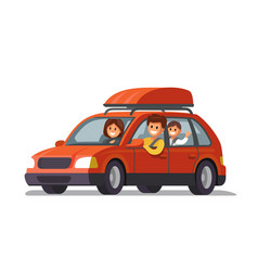 Happy family traveling by red car vector