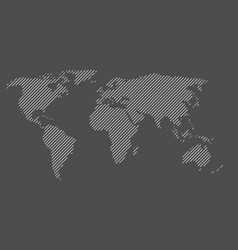 Hatched map of world striped design vector