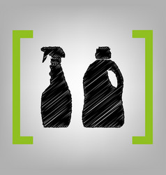 household chemical bottles sign black vector image