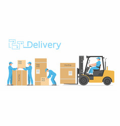 man driving a forklift vector image