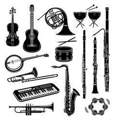 Musical instrument icons set simple style vector image