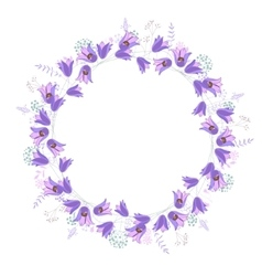 Round frame with contour blue flowers vector image