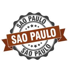 Sao paulo round ribbon seal vector